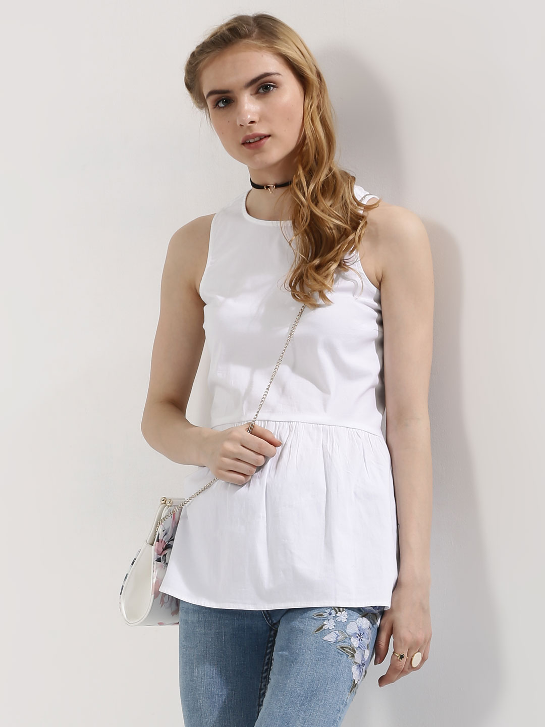 KOOVS White Soft Peplum Top 1