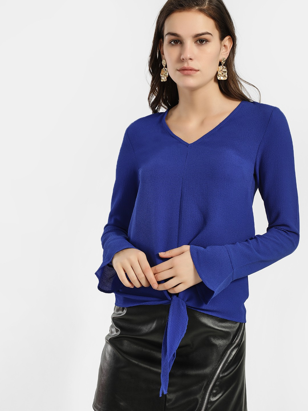 KOOVS Blue Textured Front Knot Blouse 1