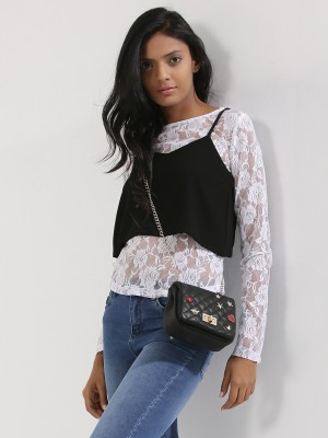 KOOVS 2-in-1 Cami Lace Top...