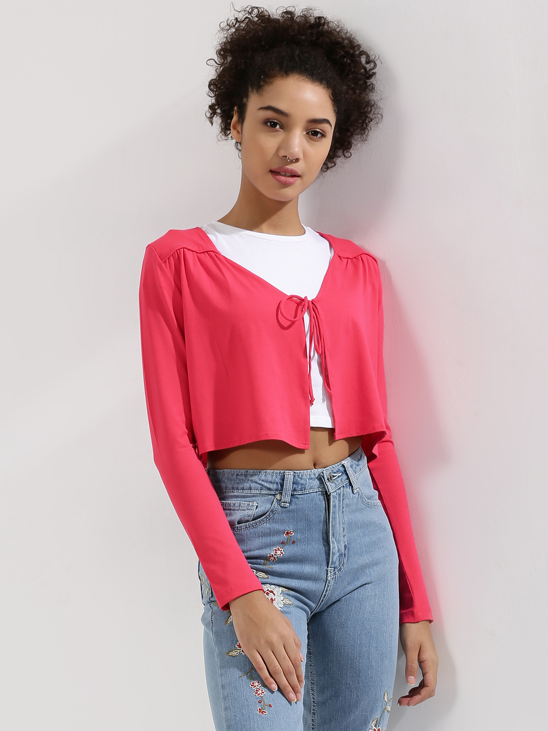 KOOVS Pink Jersey Cover Up 1