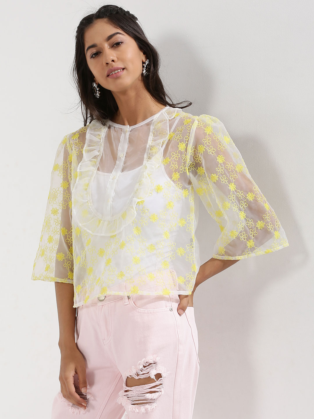 Rena Love Sheer Embroidered Organza Ruffle Top 1