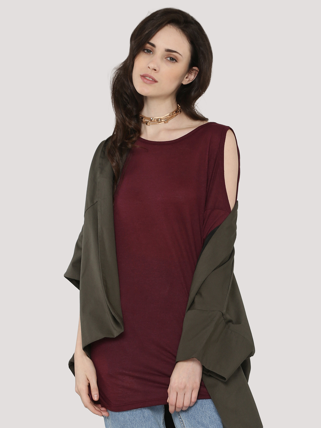 New Look Dark Burgundy Cold Shoulder Tunic Top 1