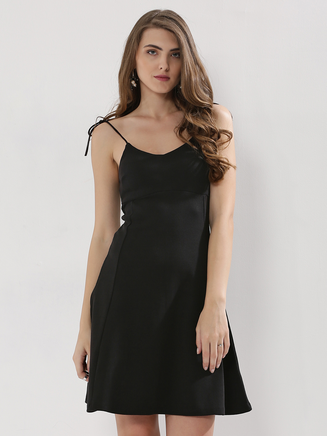 KOOVS Black Tie Strap Skater Dress 1