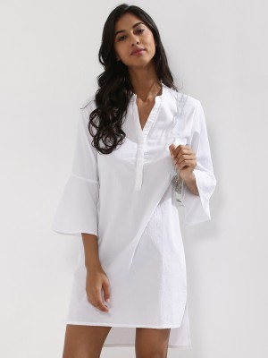 KOOVS Fluted Sleeve Shirt Dres...
