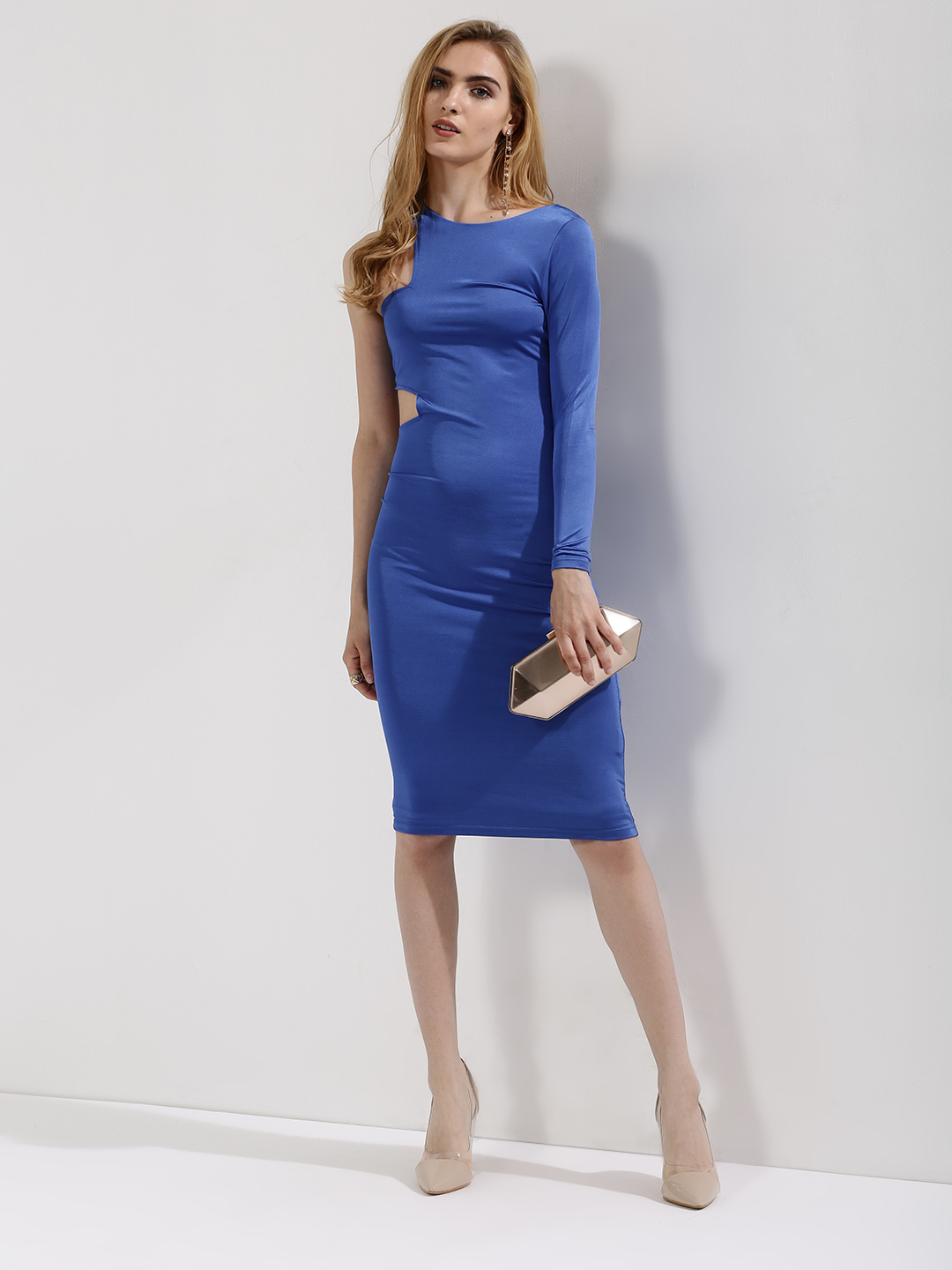 KOOVS Blue One Sleeve Bodycon Dress With Cutout Detailing 1