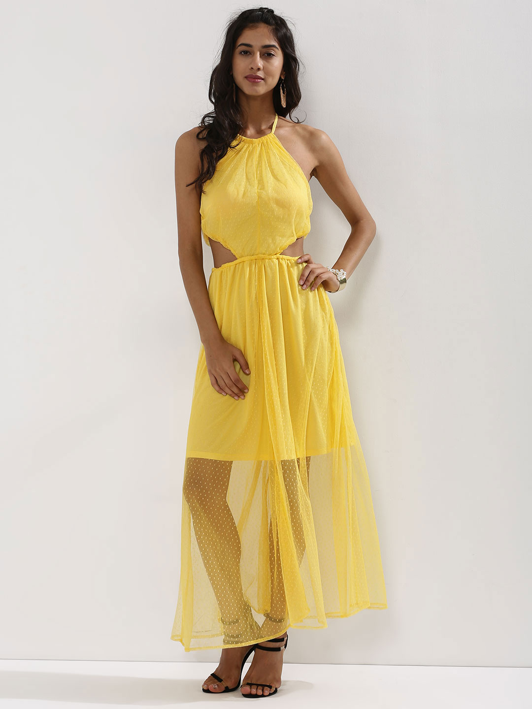 KOOVS Yellow Spot Mesh Halter Dress 1