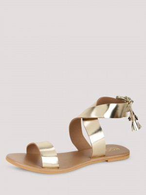 KOOVS Crossed Ankle Strap With...