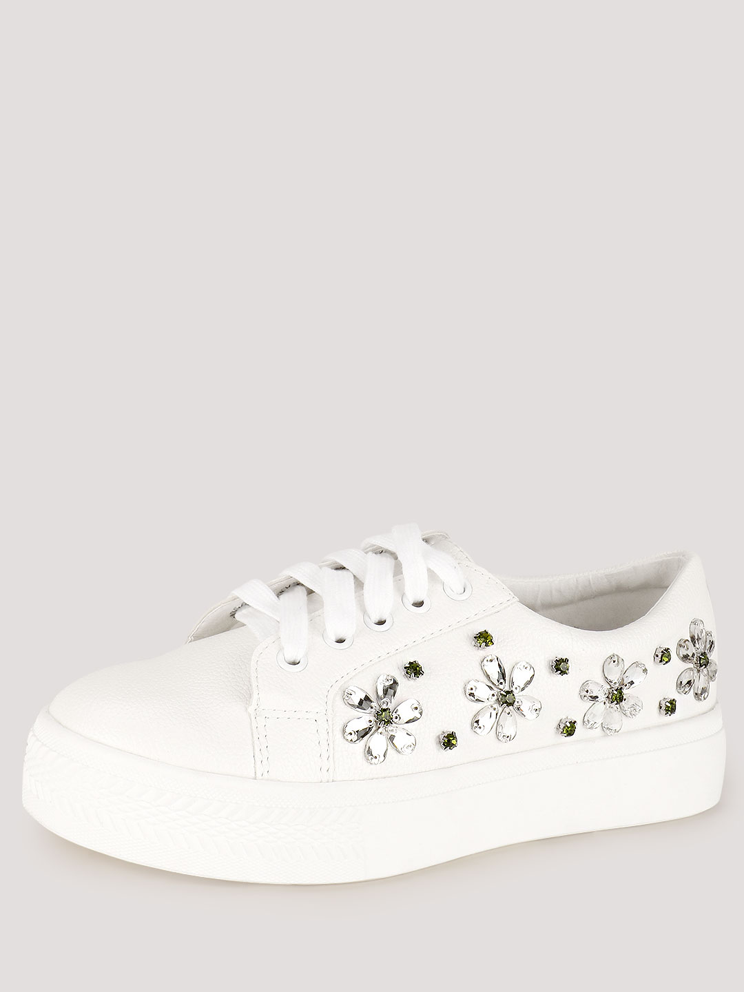 My Foot Couture White Embellished Trainers 1