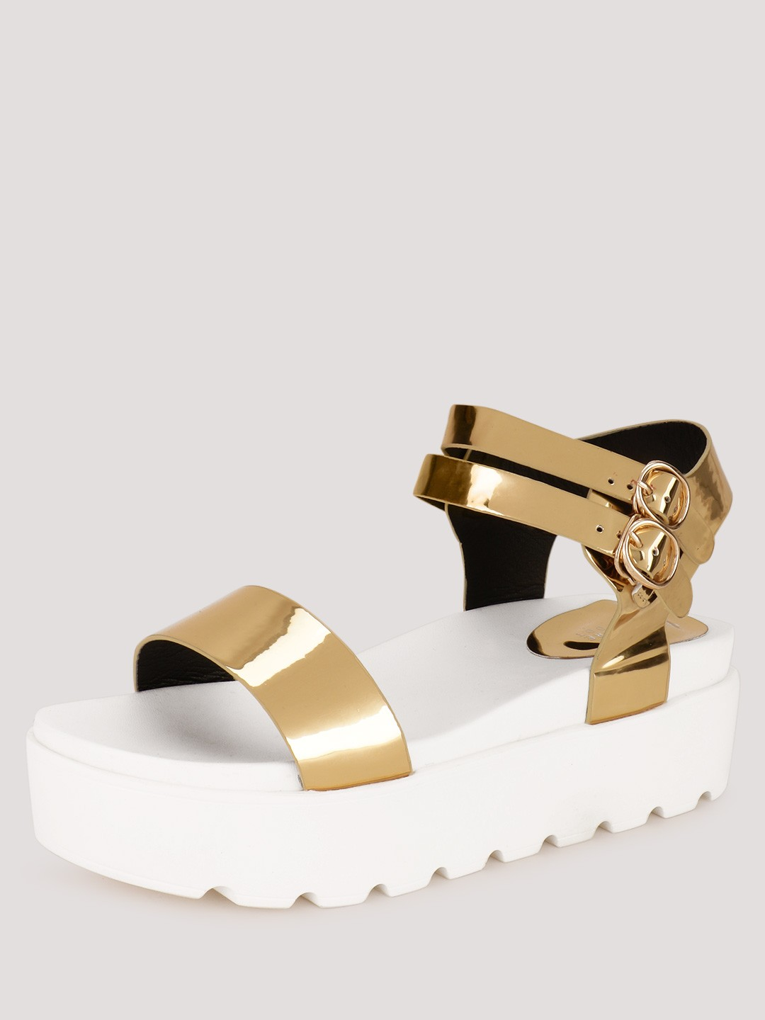 My Foot Couture Gold Metallic Sandals With Chunky Sole 1