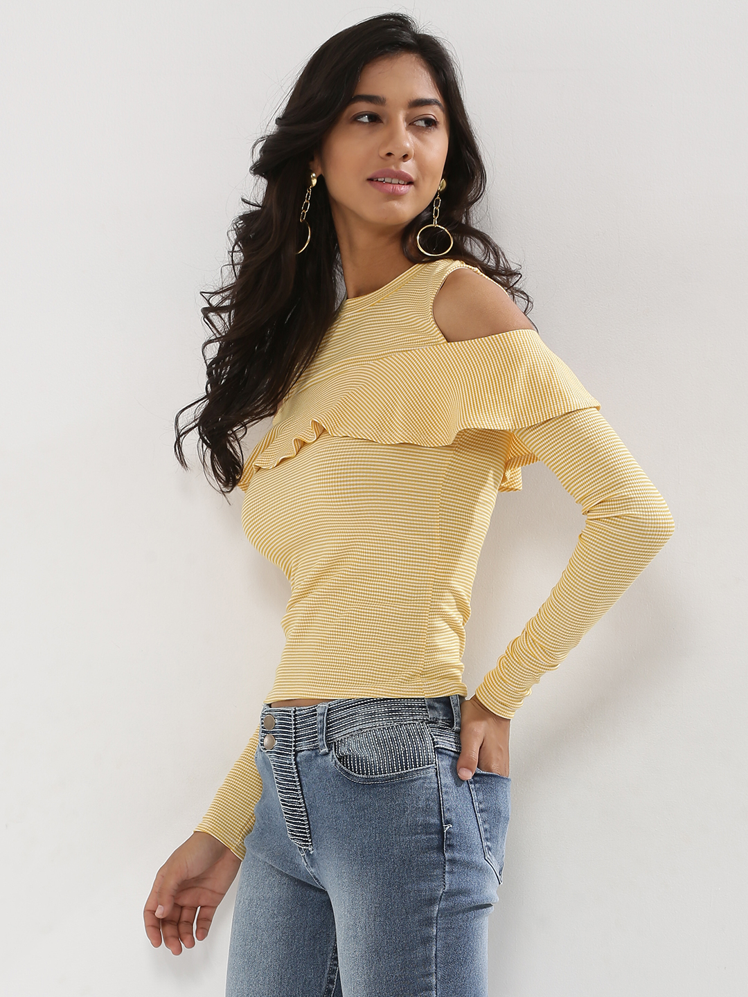 Nobody's Child Mustard Stripe Cold Shoulder Frill Top 1