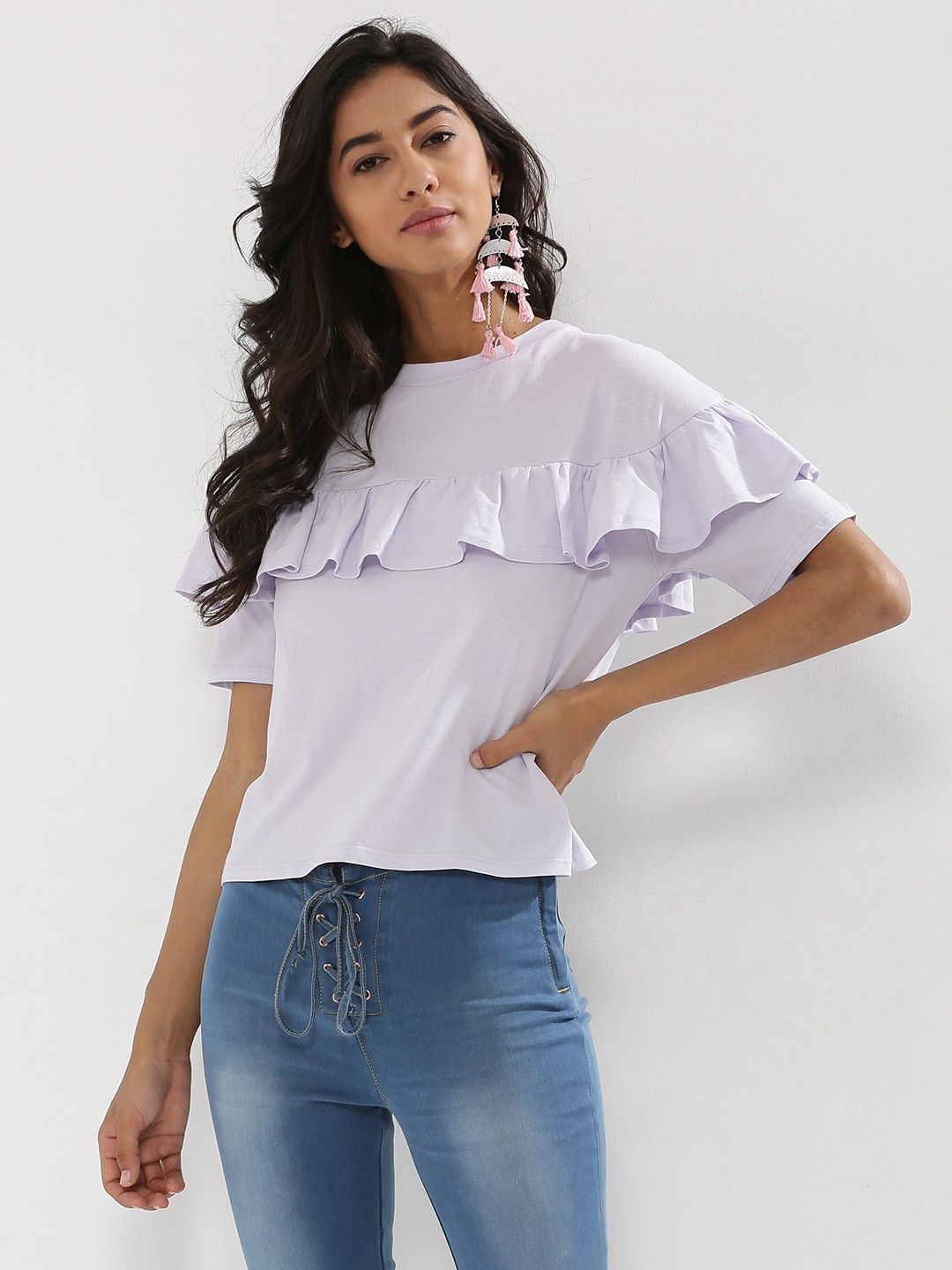 Nobody's Child Lilac Frill Front Top 1