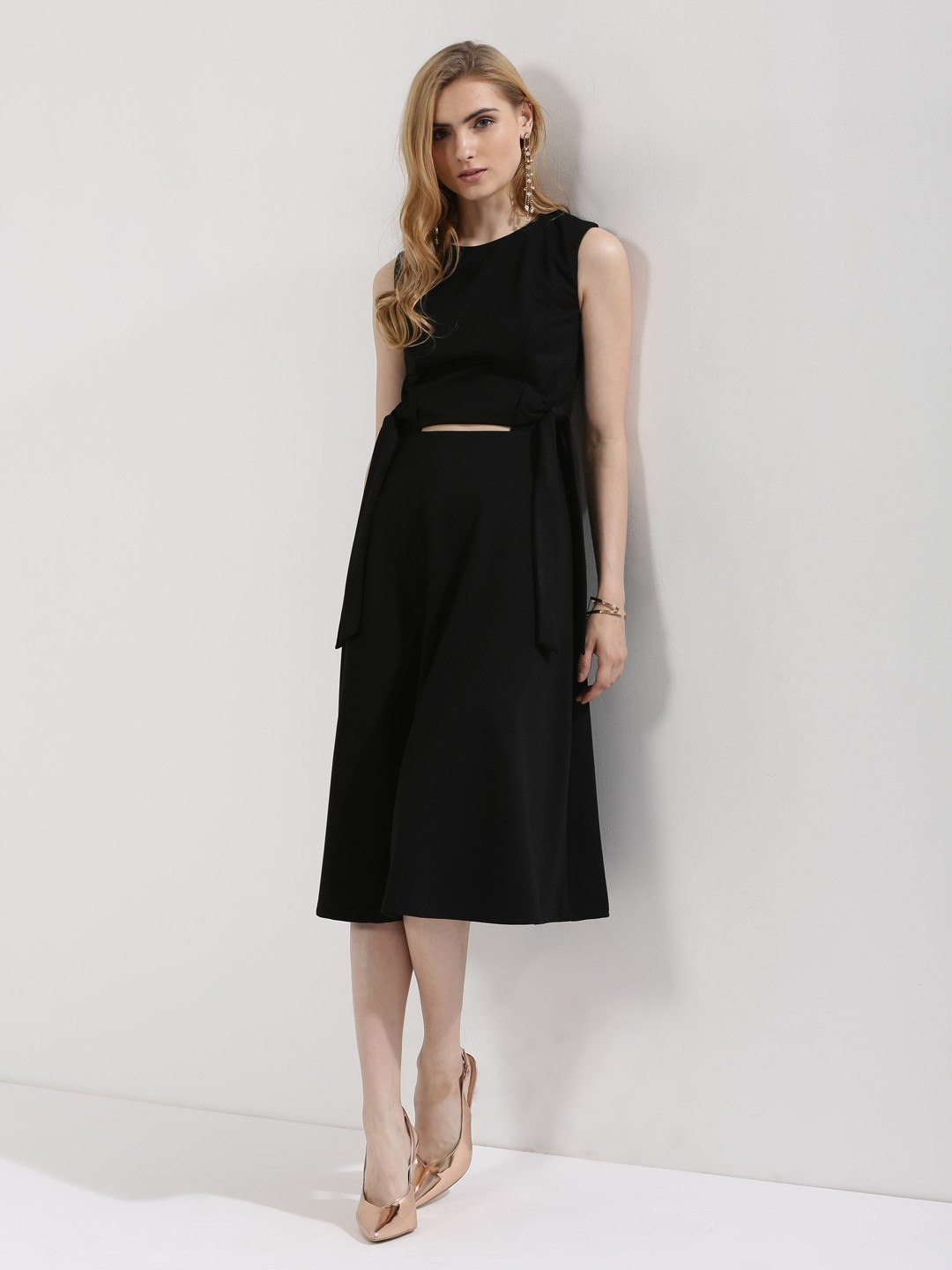 Origami Lily Black Midi Dress With Waist Cut Out And Bow Detailing 1