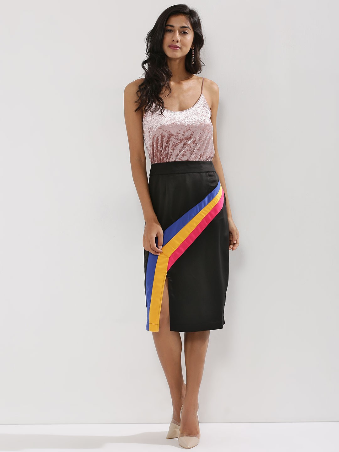 KOOVS Multi Dynamic Stripe Midi Skirt 1
