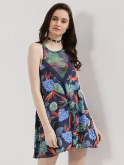 KOOVS Printed Mesh Swing Playsuit
