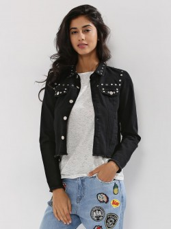 DISNEY X KOOVS Eyelet And Stud Embellished Denim Trucker Jacket With Minnie Print