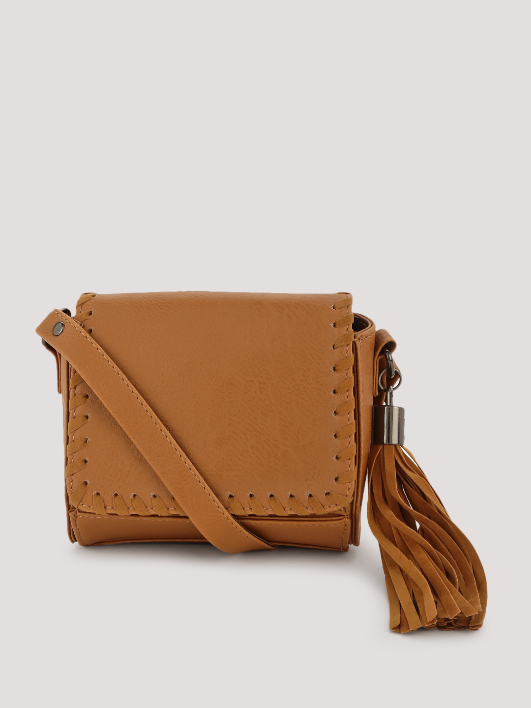 KOOVS Tan Whipstitch Detail Boxed Crossbody Bag 1