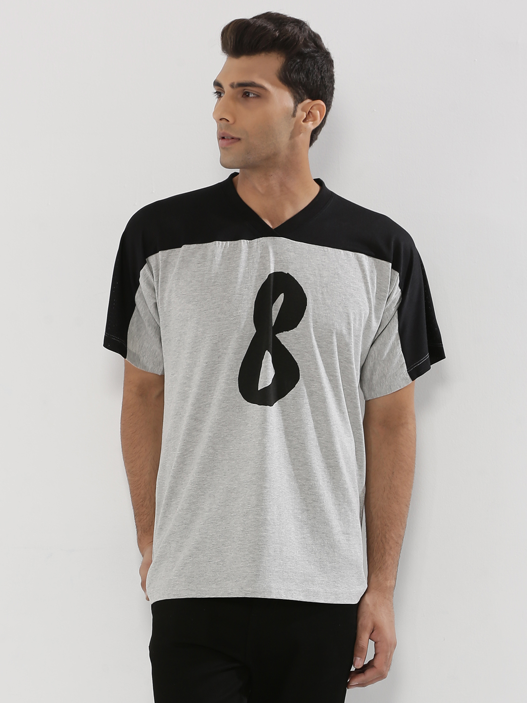 KOOVS Grey Graphic Baseball T-Shirt In The Style Of Pharrell Williams 1
