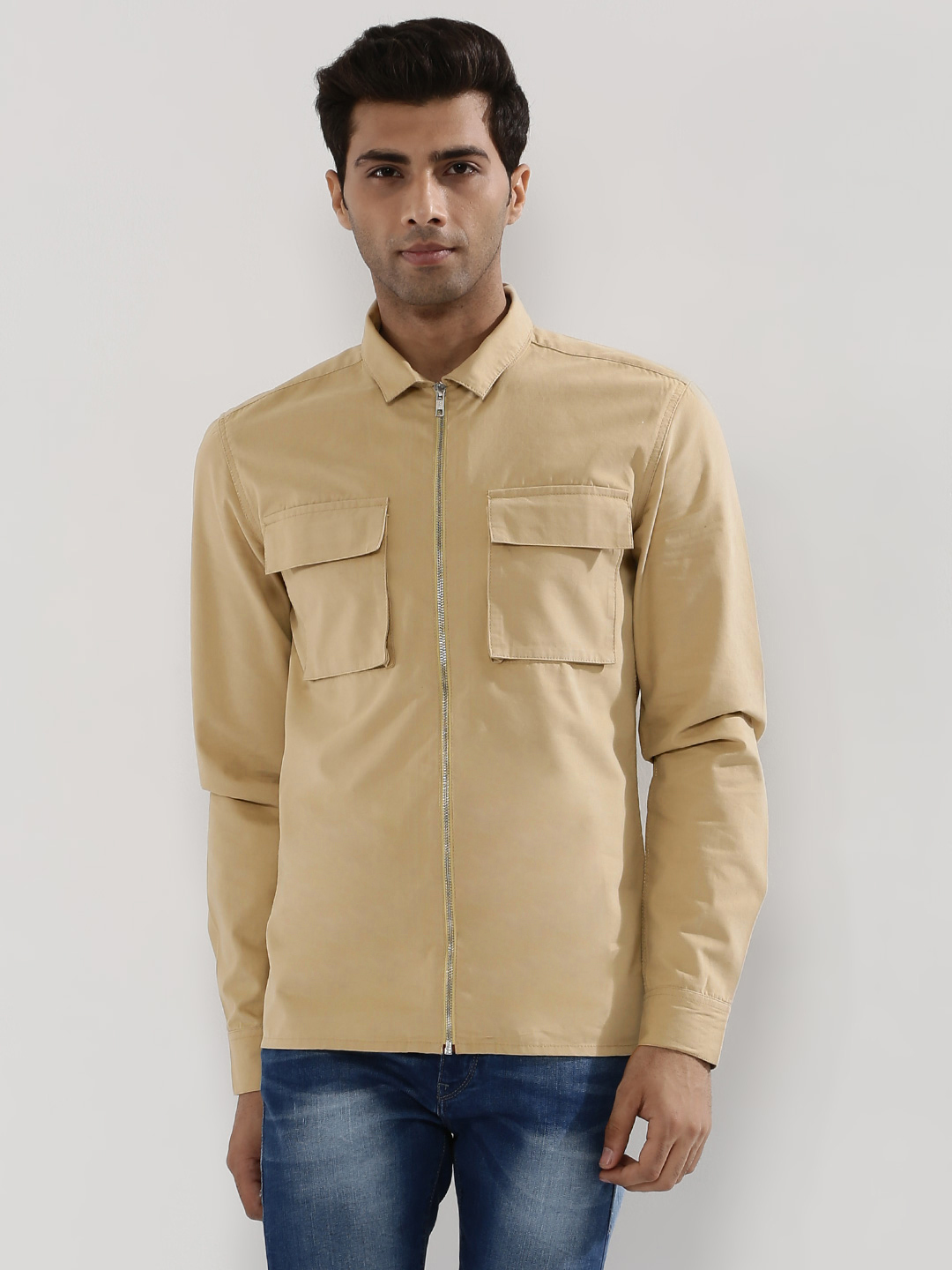 KOOVS Brown Zip Through Utility Shirt 1