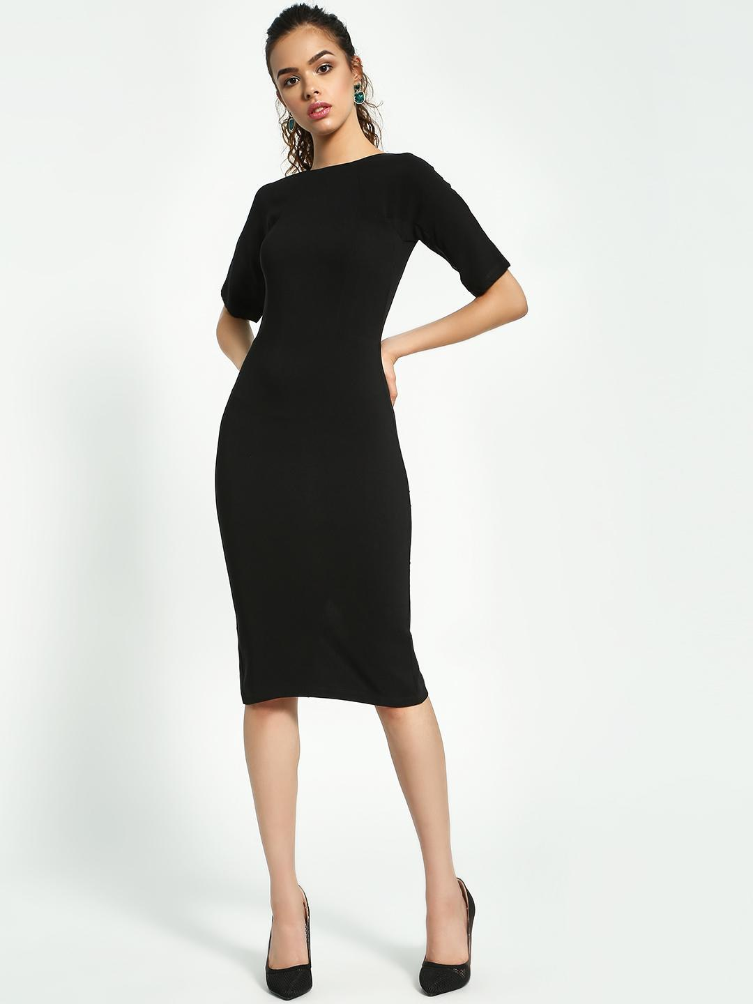 KOOVS Black Tailored Fit Pencil Dress 1