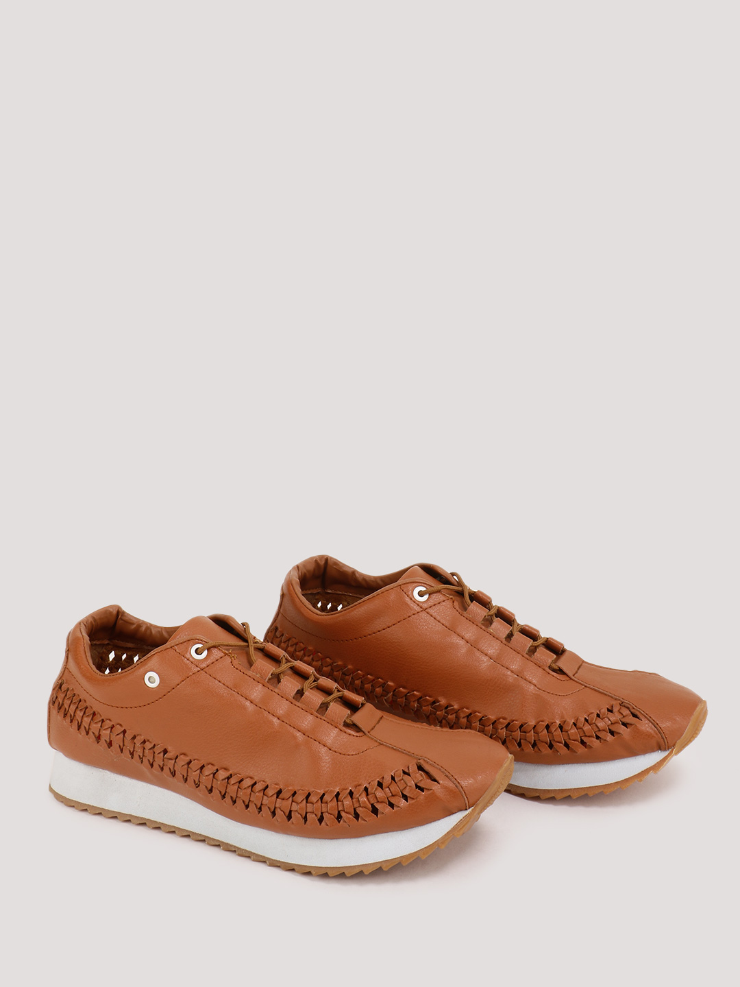 Marcello & Ferri Tan Sneakers With Woven Upper Detailing 1