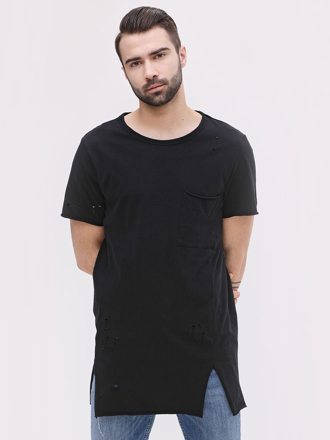 New Look Black Distressed T-Shirt With Patch Pocket 1