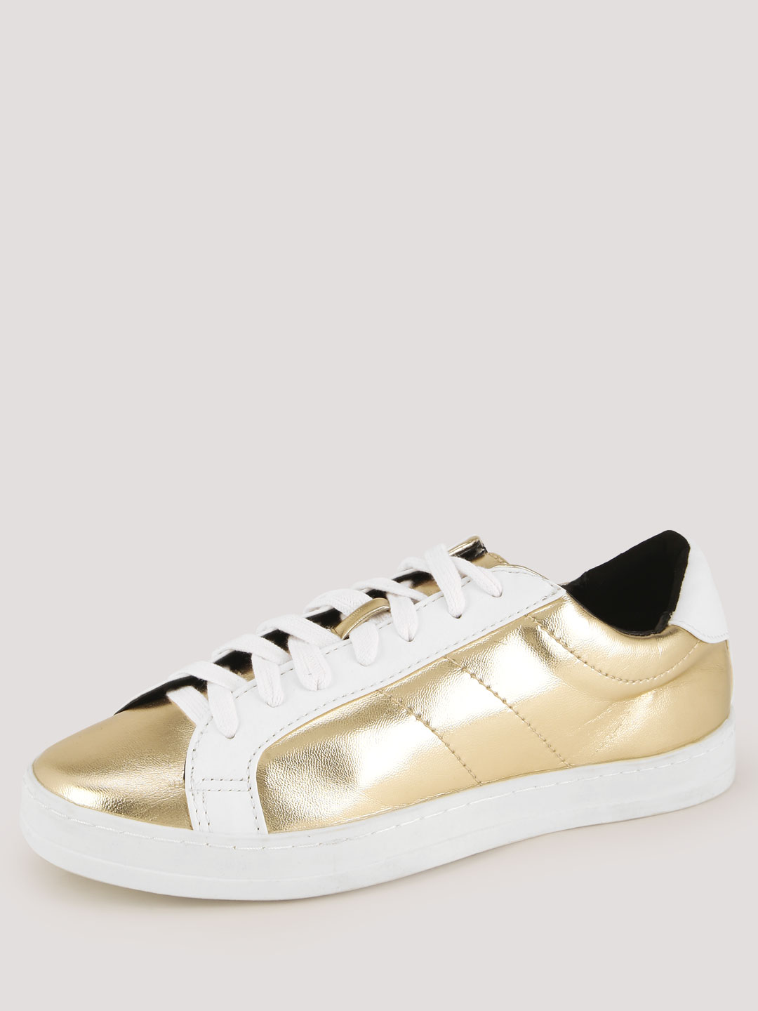 New Look Gold Metallic Lace Up Trainers 1