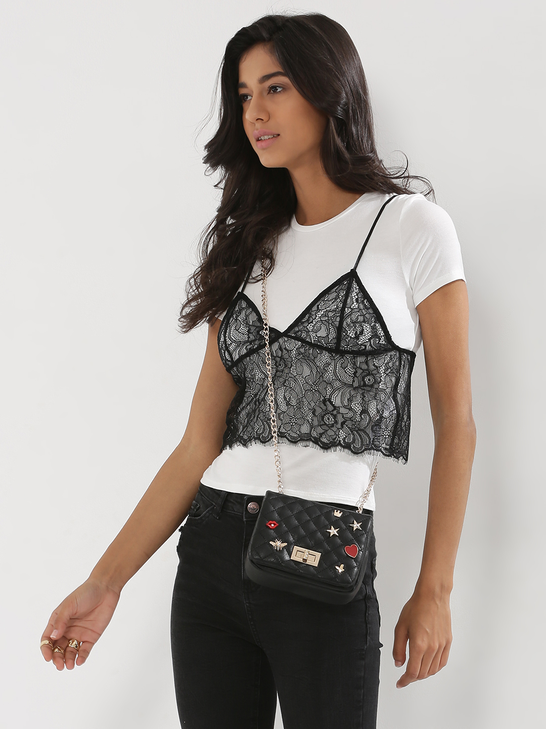 New Look BLACK PATTERN Bralet Lace 2 In 1 T-Shirt 1