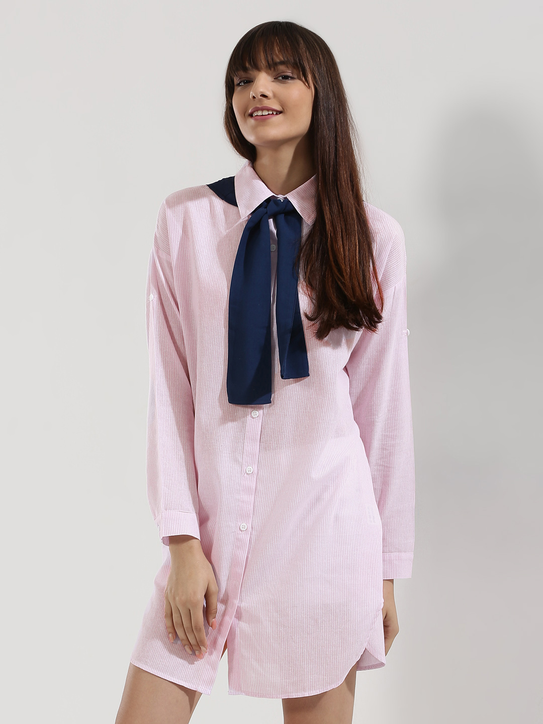 Origami Lily Pink Shirt Dress With Sailor Scarf 1