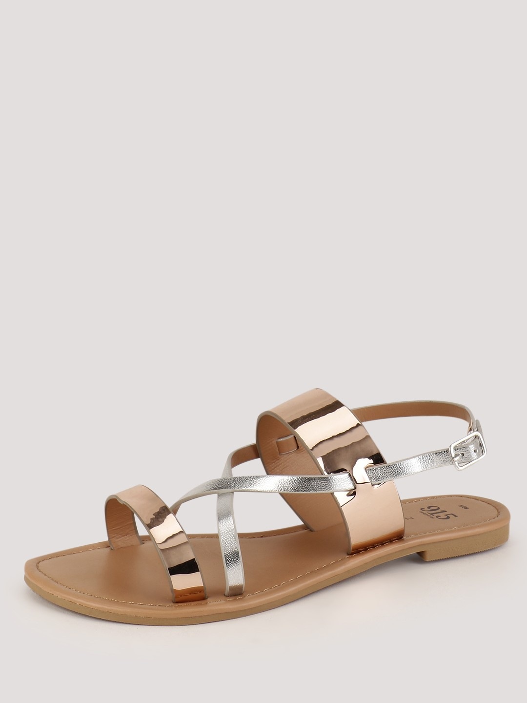 New Look Rose Gold Metallic Cross Over Sandals 1