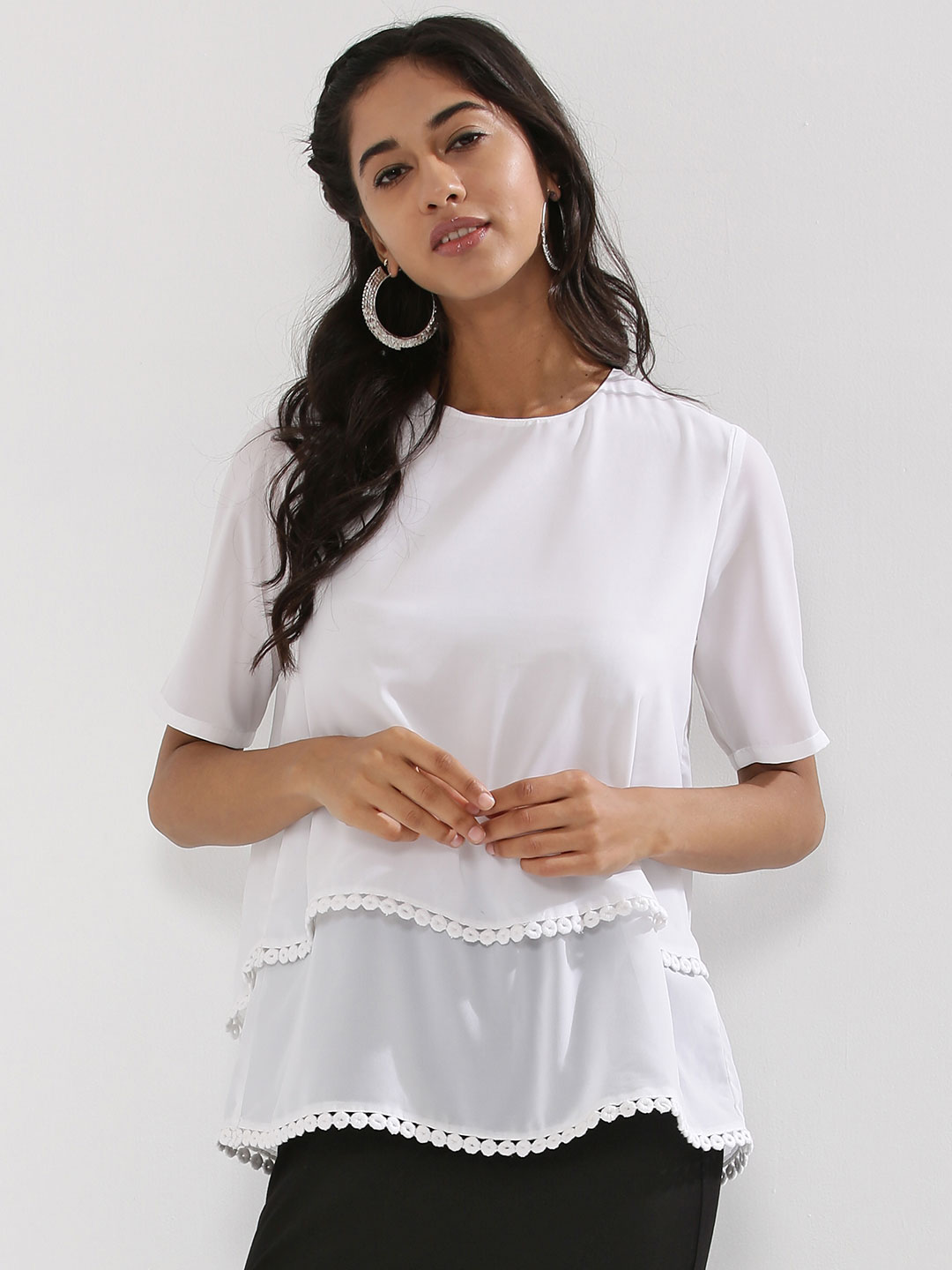Femella White Layer Top With Lace Detail 1