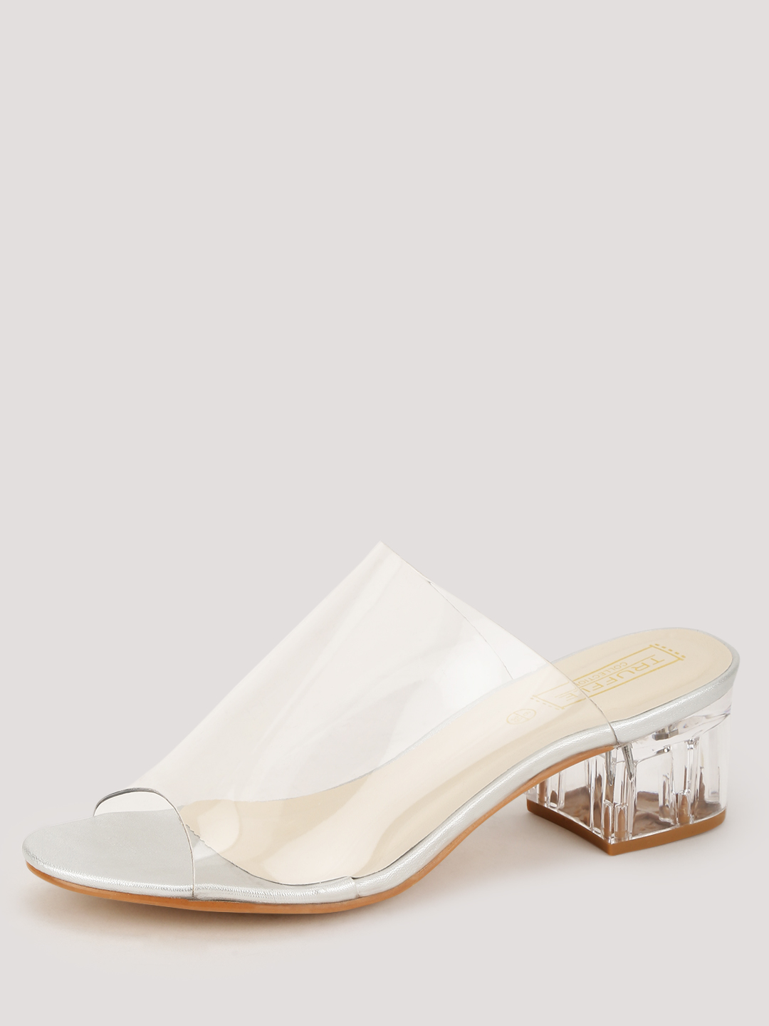 Truffle Collection Clear Perspex Block Heel Sandals 1