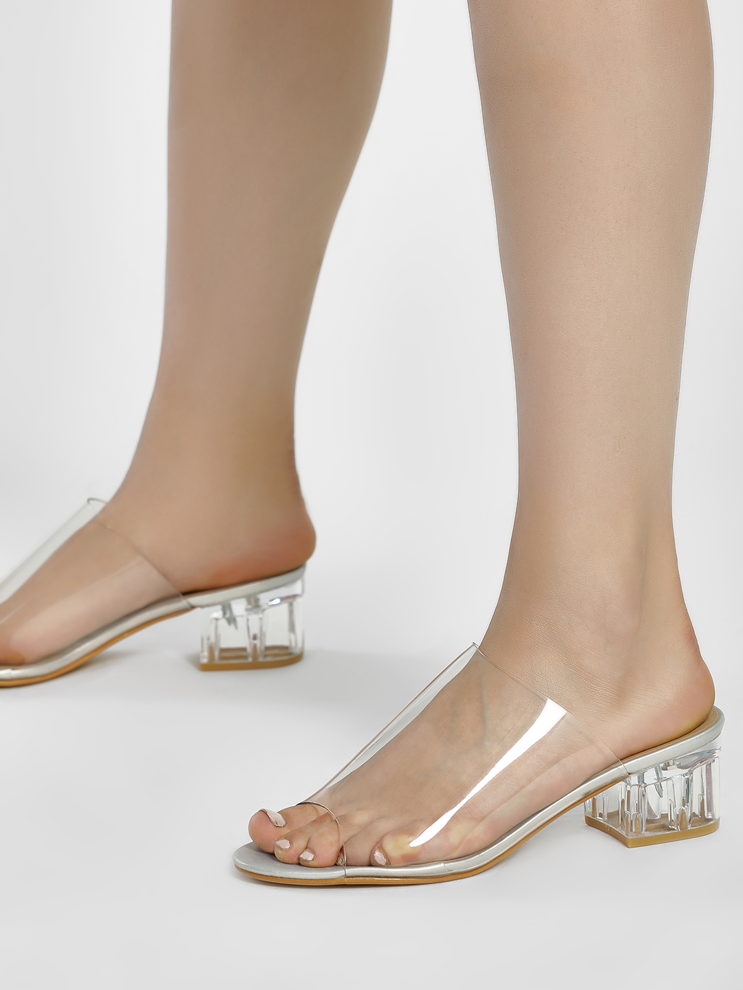 Truffle Collection White Perspex Block Heel Sandals 1
