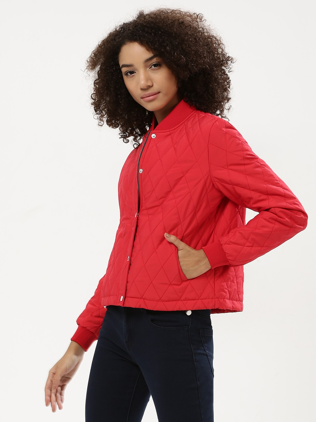 KOOVS Red Quilted Bomber Jacket 1
