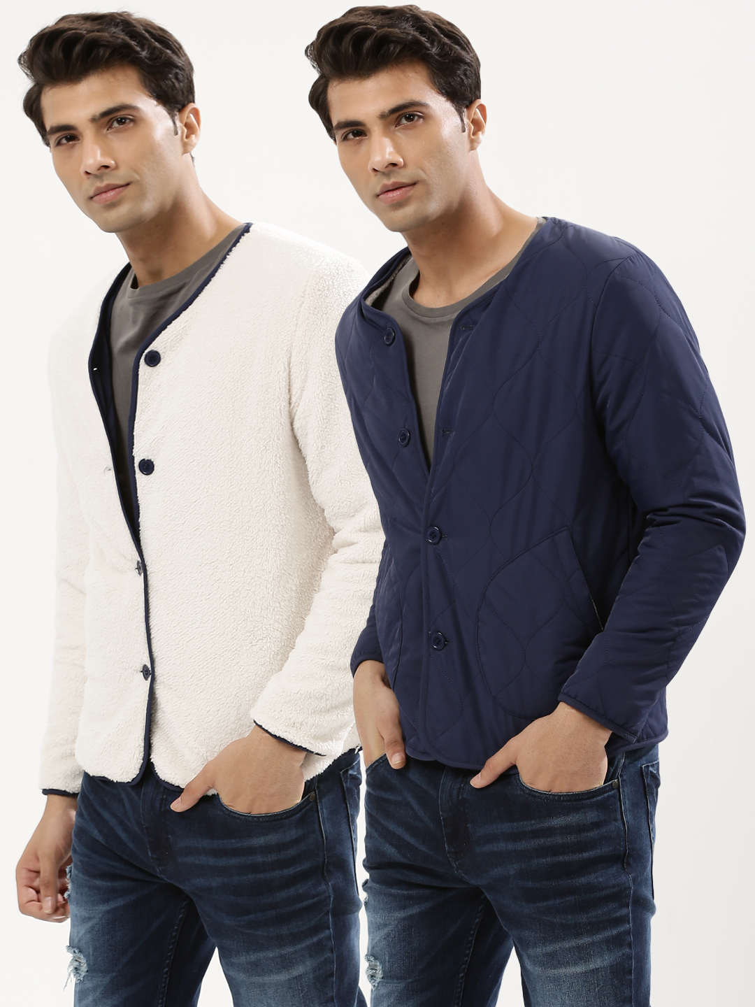 KOOVS Navy Shearling & Quilting Reversible Jacket 1