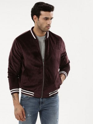 KOOVS Velour Bomber Jacket Wit...