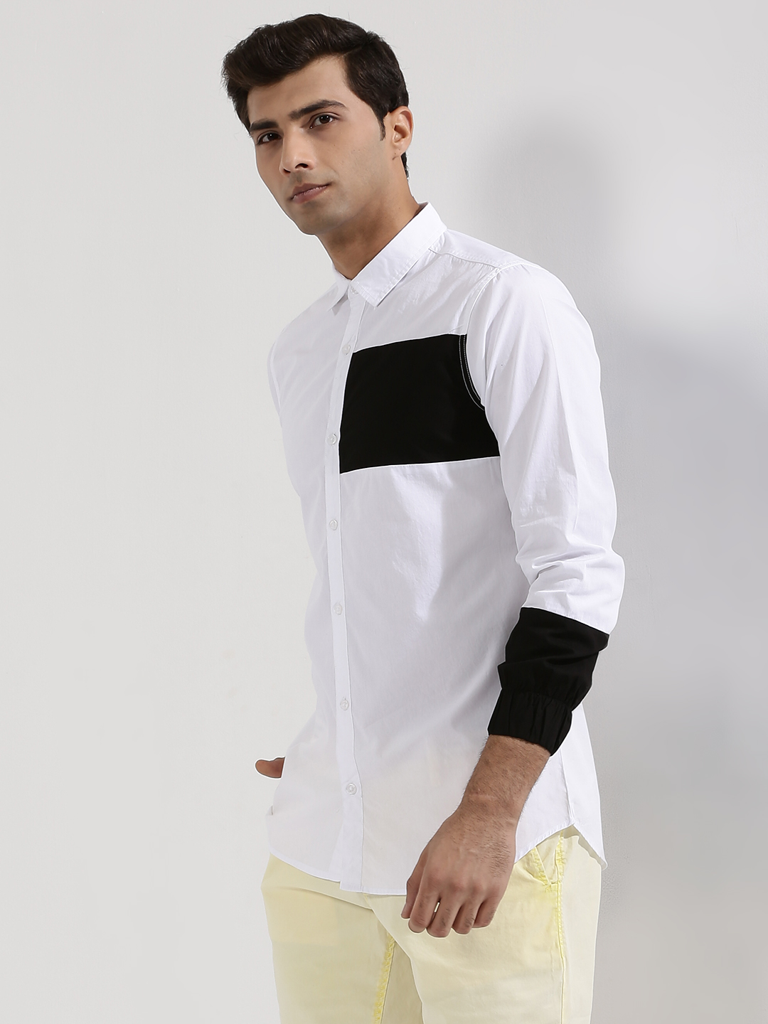 Adamo London WHITE/BLACK Colour Block Shirt With Elasticated Cuff 1