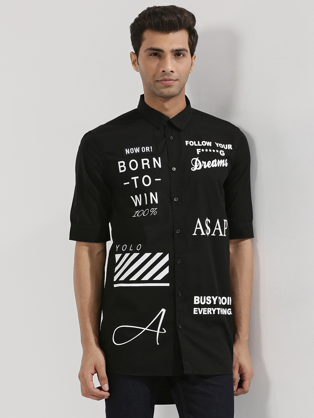 Adamo London Black Printed Step Hem Longline Shirt 1