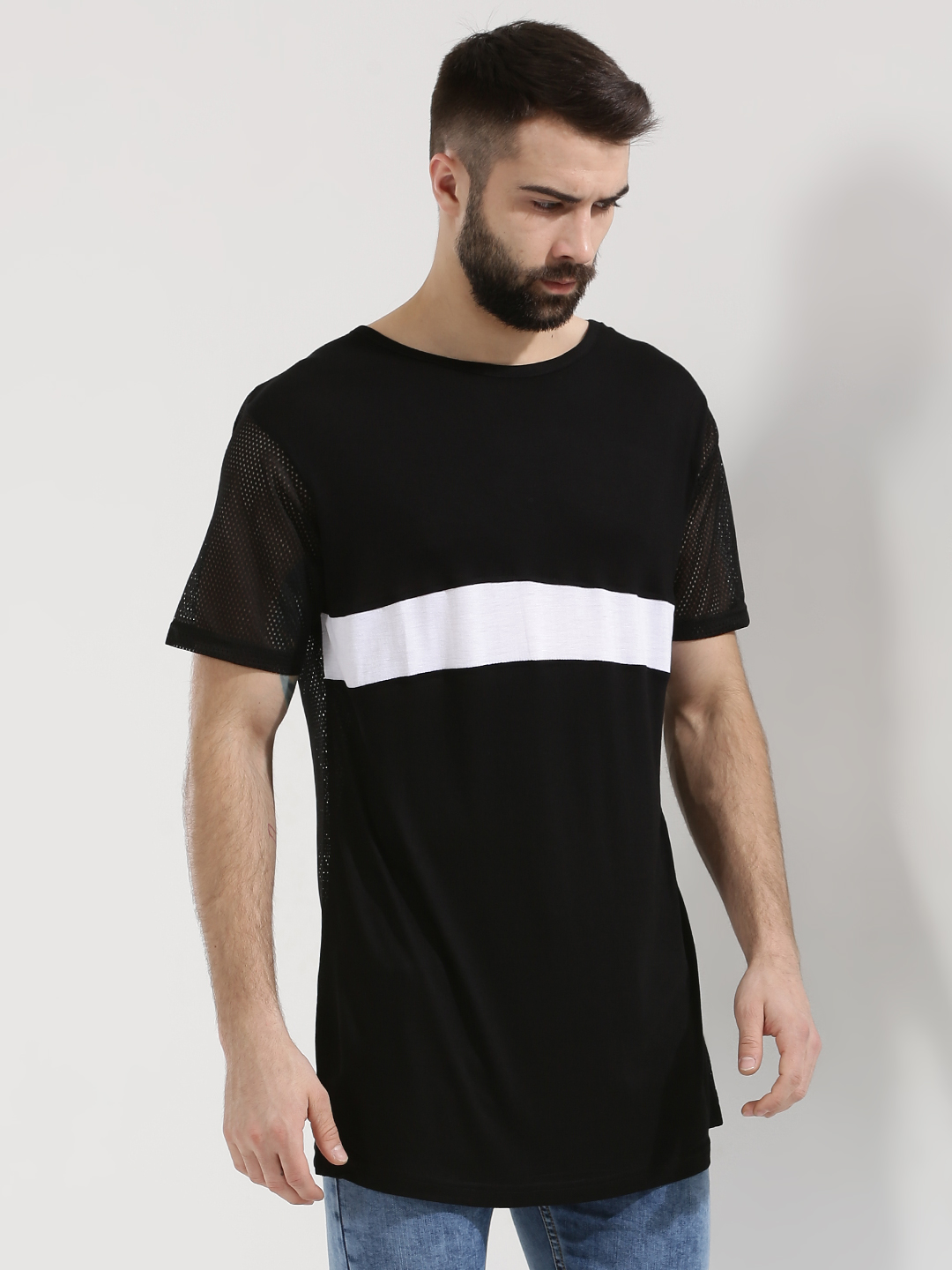 Adamo London Black Contrast Stripe T-Shirt With Mesh Back 1
