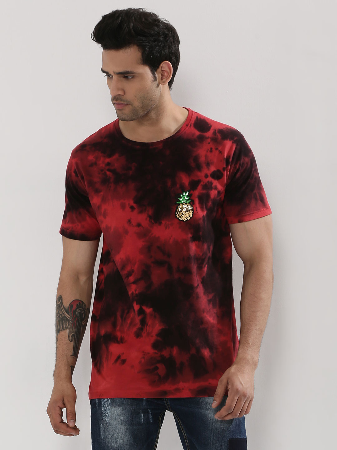 Adamo London Red/Black Tie-dye T-Shirt With Sequin Patch 1
