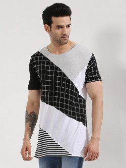 Adamo London Contrast Panel Longline T-Shirt
