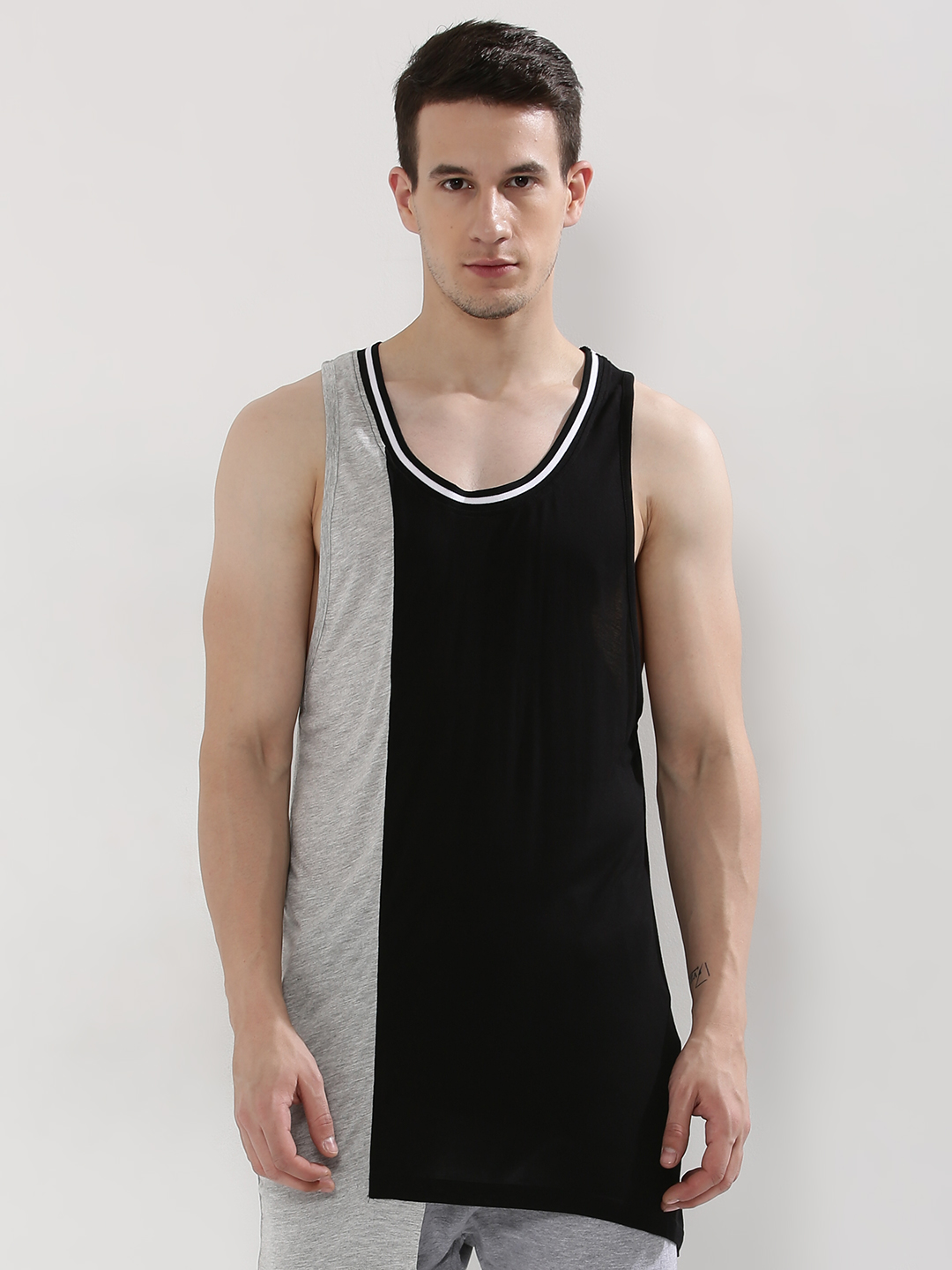 Adamo London Grey/Black Colour Block Longline Vest 1