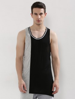 Adamo London Colour Block Longline Vest With Striped Rib