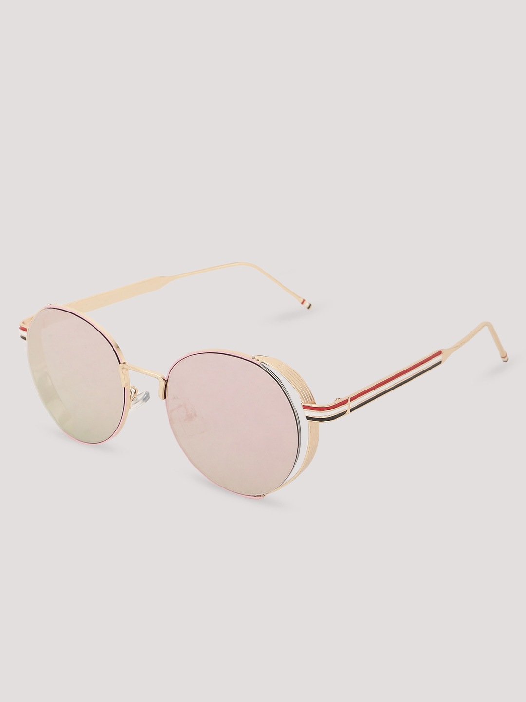 Sneak-a-Peek Pink Round Sunglasses 1