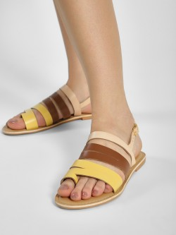 Zebba Multi Colour Leather Strappy Sandals