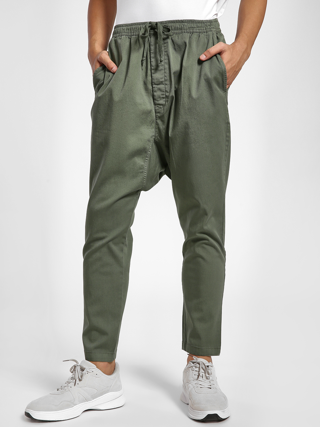 Alcott Khaki Drop Crotch Carrot Fit Jog Pants 1