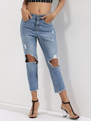 MOMOKROM Ripped Knee Cropped H...