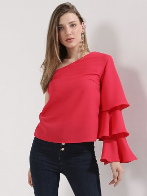 OLIV One Shoulder Ruffle Sleev...