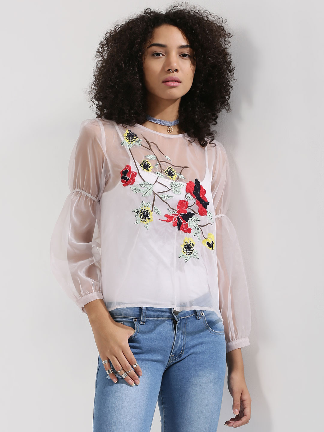Rena Love Pink Fit & Flare Sleeve Sheer Top With Embroidery Detail 1