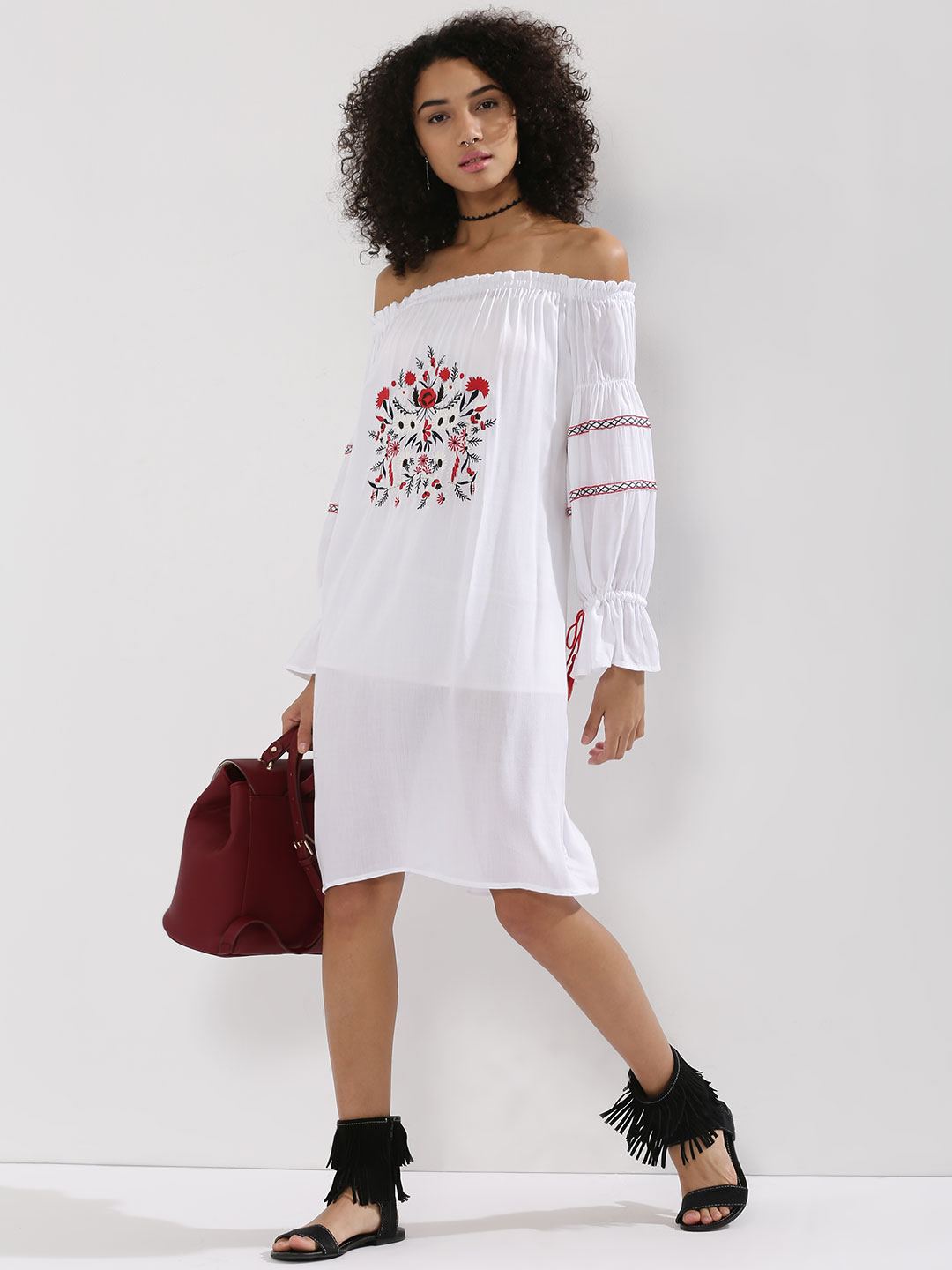 Rena Love White Cuffed Sleeve Midi Dress With Embroidery 1