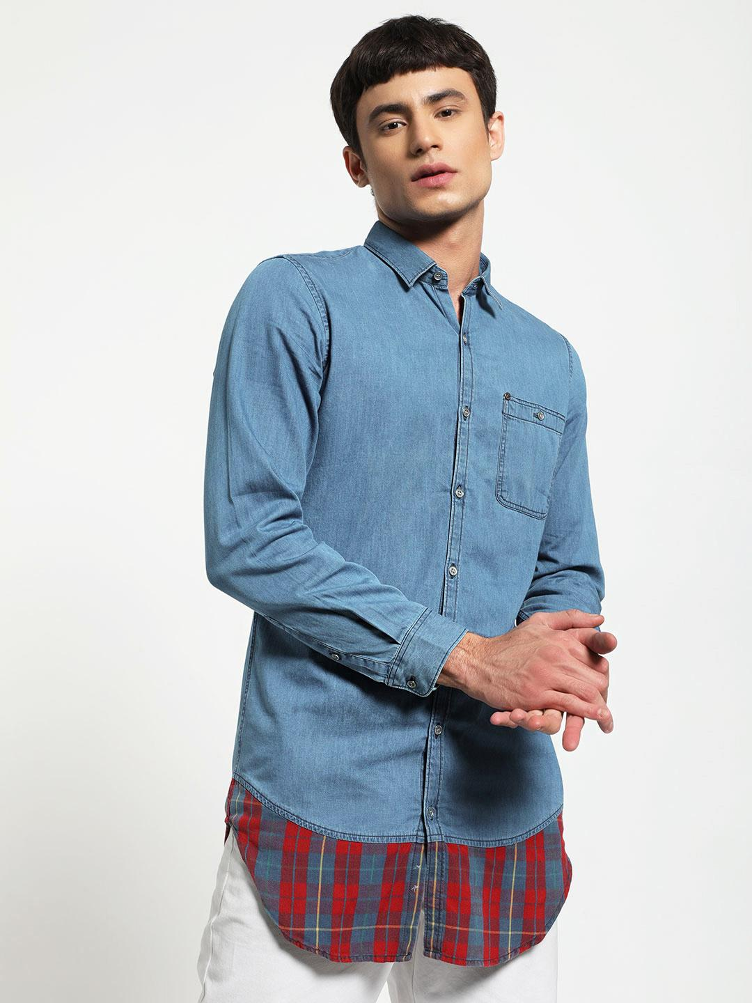 Adamo London Blue Denim Longline Cut & Sew Shirt 1